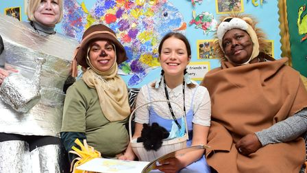 The teachers from Nursery at Rushmore Primary School celebrate World Book Day in Wizzard of Oz costu