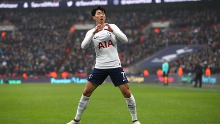 Tottenham Hotspur's Heung-min Son celebrates scoring his side's first goal of the game during the Pr