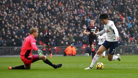 Tottenham Hotspur's Heung-min Son scores his side's first goal of the game during the Premier League