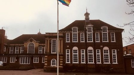 The LGBT+ flag flies at Ormiston Denes Academy. PICTURE: Julie Mayo
