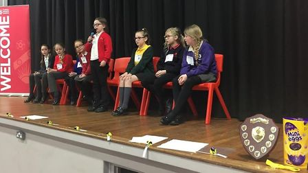 Primary school students take part in the spelling bee. PICTURE: Julie Mayo