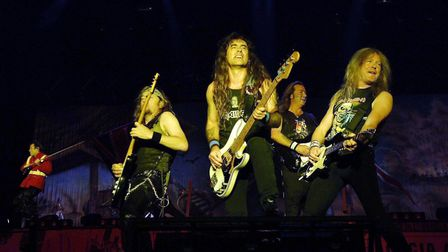 NO MERCHANDISING: NO MERCHANDISING: Iron Maiden performing on the Main Stage at the Reading Festival