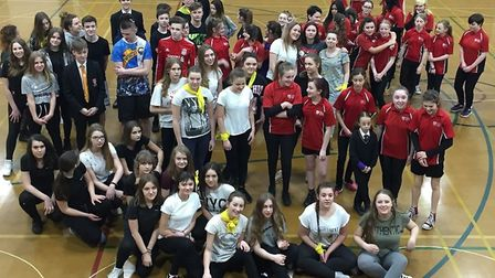 Polish students from Mielec, Poland, take part in a PE lesson at Ormiston Denes Academy. PICTURE: Ju