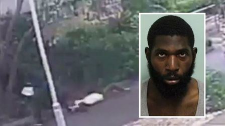 Guilty... the moment Sanchez Edwards [inset] is caught on CCTV robbing 92-year-old woman in Hoxton i