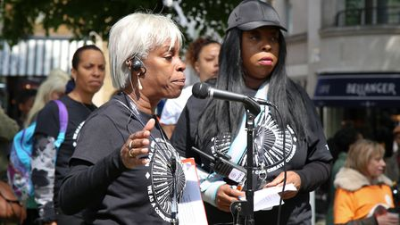 Janette Collins and Tracy at one of the 'Enough is Enough' marches, organised by The Crib youth club