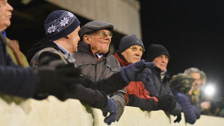 Some of the fans who turned out to watch Lowestoft take on Dulwich Hamlet Picture: Nick Butcher