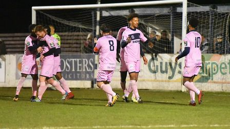 Dulwich Hamlet go 2-0 through an own goal from Ross Marshall. Picture: Nick Butcher