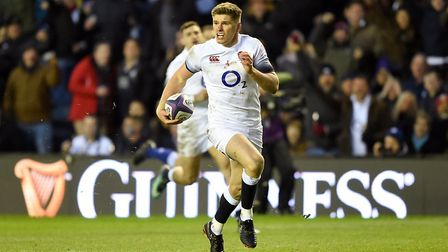 England's Owen Farrell on his way to scoring his side's try against Scotland in the Six Nations (pic