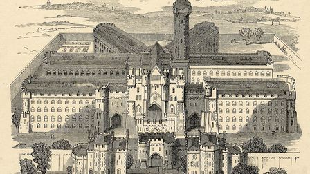 A bird's eye view of Holloway Prison, in an engraving from 1862. Picture: Islington Local History Ce