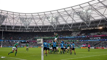 General view of a lineout during a World Cup match at the London Stadium in 2015 (pic: David Davies/