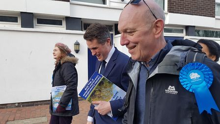 Gavin Williamson and Conservative candidate for Belsize, Steve Adams, during a campaign session on M