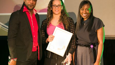 Kat B and Hackney deputy mayor Cllr Antoinette Bramble presenting the school star award to Donna Dav