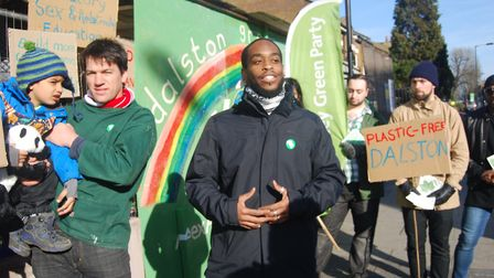 Green Party candidates for Dalston ward, Alex Armitage and Dan Thompson at the launch of their campa
