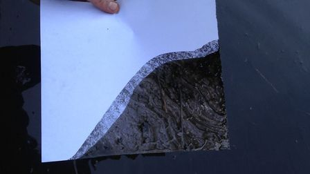 Oil on a piece of paper that has been dipped in the River Lea at Homerton Bridge. Picture: Rose Keye