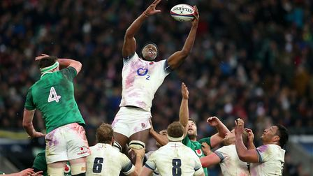 England's Maro Itoje wins a lineout during the NatWest 6 Nations match against Ireland at Twickenham