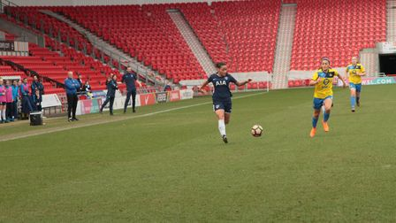 Bianca Baptiste in action for Tottenham Hotspur Ladies at Doncaster Rovers Belles (pic: Che Wheatley