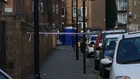 A forensics tent in Ferncliff Road following last night's shooting. Picture: Emma Bartholomew