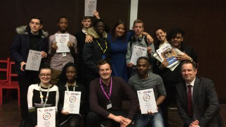 Members of the student takeover with education editor James Scott (centre), group editor Michael Adk