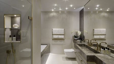 The bathroom inside the Belsize Lane show apartment