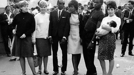 Charlie, second right with his wife Phyllis. Rock steady star Alton Ellis is in the middle.