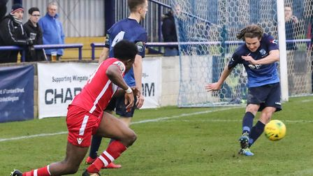 Former Leyton Orient midfielder Freddy Moncur (right) in action for Wingate & Finchley against Tonbr