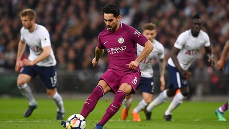 Manchester City's Ilkay Gundogan scores his side's second goal of the game from the penalty spot dur