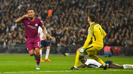 Manchester City's Gabriel Jesus celebrates scoring his side's first goal of the game during the Prem