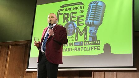 Al Murray performs at a comedy night for Nazanin Zaghari-Ratcliffe at Conway Hall.