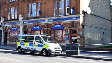 A police van outside Betfred. Picture: Polly Hancock