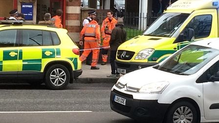 Police at the bookies in Upper Clapton Road. Picture: @999London