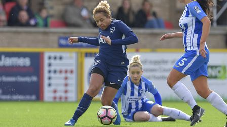 Rea Laudat looks to get forward for Tottenham Hotspur Ladies on her debut at Brighton & Hove Albion