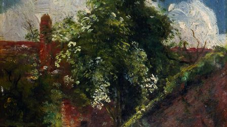The unpublished John Constable painting of the back of a house in Hampstead, which sold at auction f