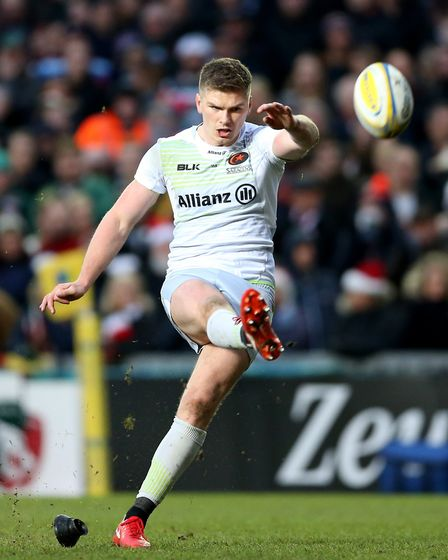Saracens' Owen Farrell kicked 18 points in the win at Northampton (pic Nigel French//PA)