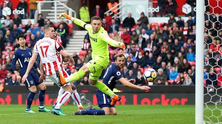 Tottenham Hotspur's Harry Kane looks on as the ball ends up in the back of the Stoke net (pic: Nigel