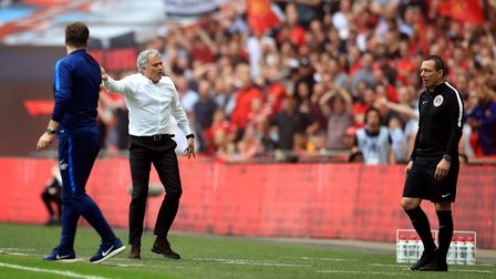 Manchester United manager Jose Mourinho gestures on the touchline towards the fourth official during