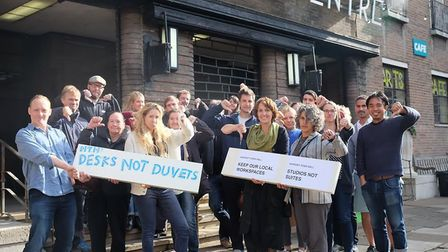 Hornsey Town Hall protestersat the beginning of the campaign in 2016. Picture: Dave Winskill