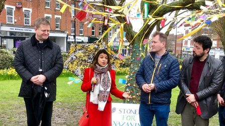 Richard Ratcliffe with supporters including his MP Tulip Siddiq. Picture: Linda Grove