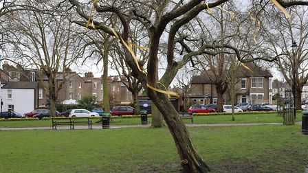 Richard's sister Becca Ratcliffe found the tree vandalised this morning. Picture: Becca Ratcliffe