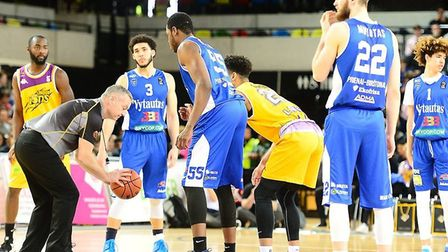 The start of the match between London Lions and BC Vytautas (pic Graham Hodges)