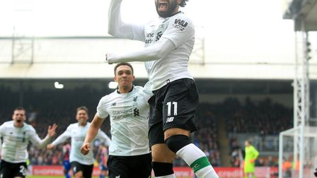 Liverpool's Mohamed Salah celebrates scoring the winner for his side at Crystal Palace - his 29th Pr