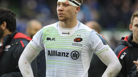 Saracens Nick Isiekwe reacts after the quarter final defeat in the European Champions Cup match at T