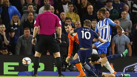 Tottenham Hotspur's Harry Kane scores his side's first goal at Brighton & Hove Albion (pic: Gareth F