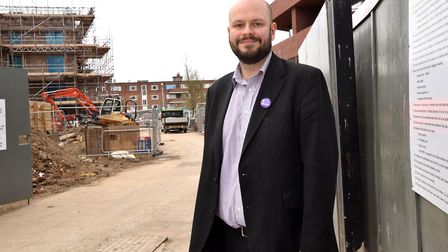 Mayor of Hackney Phil Glanville on the site of the new council housing development on the Colville E