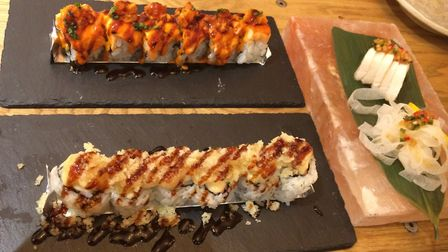 "A selection of maki and rolls at Hot Stone, including the eponymous ""hot stone"" with King prawn temp"