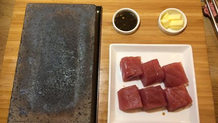 Tuna, ready to be cooked on the hot stone at Hot Stone