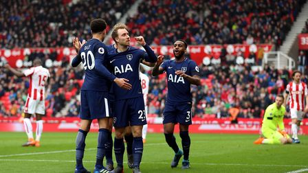 Tottenham Hotspur's Christian Eriksen celebrates scoring his side's first goal at Stoke (pic Nigel F