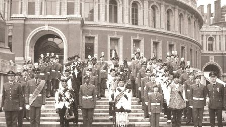 The squadron at the Royal Albert Hall on Remembrance Sunday in 1982 with the massed bands of the Gur