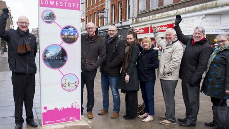 New Discover Lowestoft branded information signs are unveiled by Lowestoft Vision and the district c