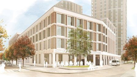 An artist's impression of the new City of London Academy Shoreditch Park - perhaps the most visible