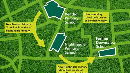 Up to seven schools could be rearranged and rebuilt in a giant game of musical chairs (sort of). Pic